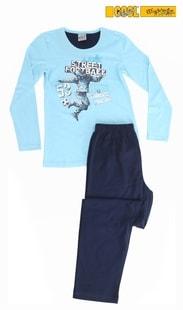 Dětské pyžamo dlouhé Vienetta Kids Fotbal - tyrkysová