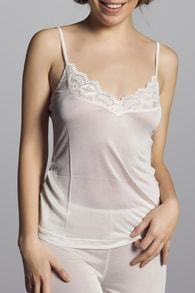 CHANGE Lingerie Hedvábné tílko CHANGE Silk Knit with Lace Ivory