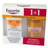 Ochranný krémový gel na opalování proti sluneční alergii Eucerin SPF 25 + Relipidační sprchový olej pro citlivou pokožku pH5 ZDARMA