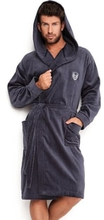 Pánský župan s kapucí L&L Max tmavě šedý